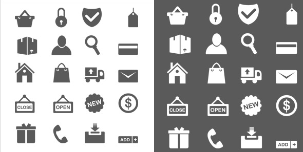 GraphicsFuel.com | 20 Minimal ecommerce icons (vector PSD)