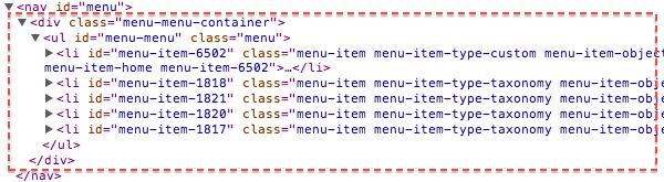 カスタムメニューをデフォルトのまま表示したコード