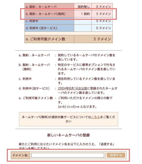 さくらのVPS ネームサーバー登録画面